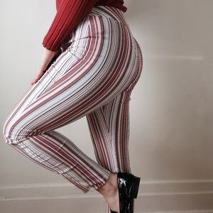 Stretchy Orange and White Striped Trousers